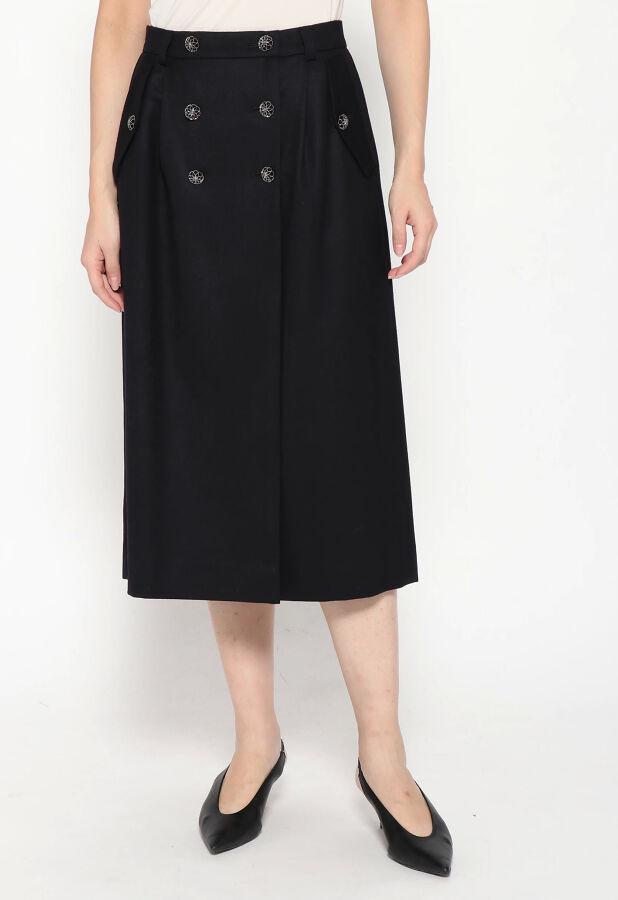 DUAL VIEW / デュアルヴュー ウールストレッチ6つボタン膝丈スカート 2