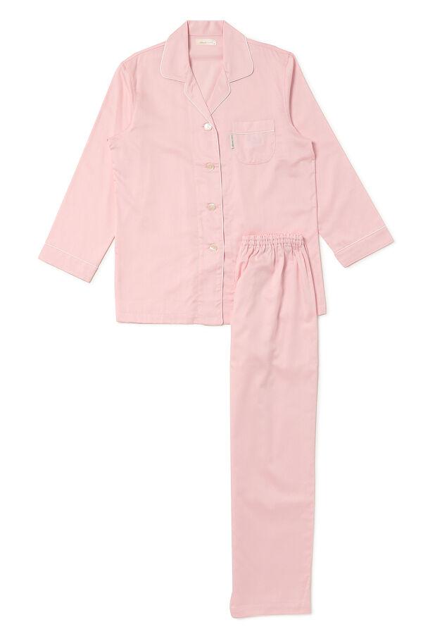 アムール / レディース サテン 無地 パジャマ < 4色2サイズ展開 > 綿100% 快眠プロジェクト 日本製 綿100% 乾燥機可上下セット 1