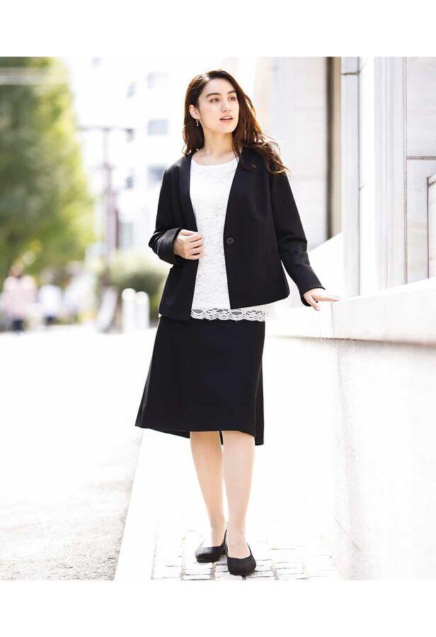 【大きいサイズ】【スカートスーツ】ノーカラージャケット 3