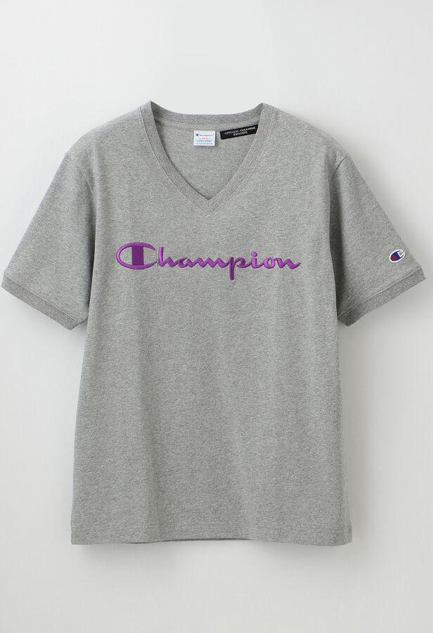 【Champion】WOMEN 別注VネックエンブロイダリーTシャツ 23