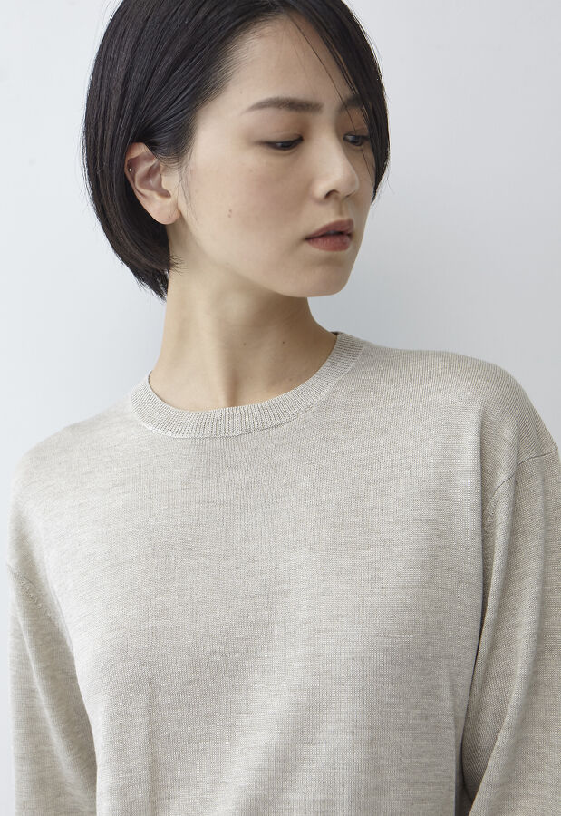 アウターサンセット silk cashmere crew neck knit po 11